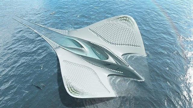 jacques rougerie designs a floating research center influenced by manta rays